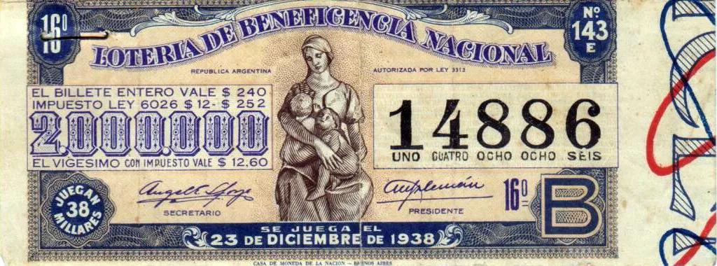 Juegos de Azar Argentina - Billete de Lotería coleccionable